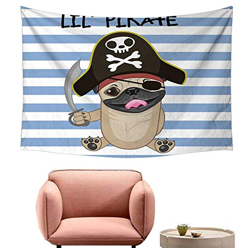 Wall Tapestry for Bedroom Pirate Buccaneer Dog in Cartoon Style Costume Lil Pirate Striped Backdrop Funny Animal Large Tapestry 71