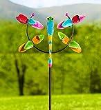 Plow & Hearth Outdoor Dragonfly Jubilee Metal Garden Wind Spinner Sculpture, 26.75 L x 11.5 W x 76.25 H