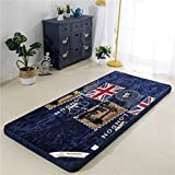 Collapsible Breathable Printed Mattress,Do Not Harden Flannel Tatami mats-M word flag 90x190cm(35x75inch)