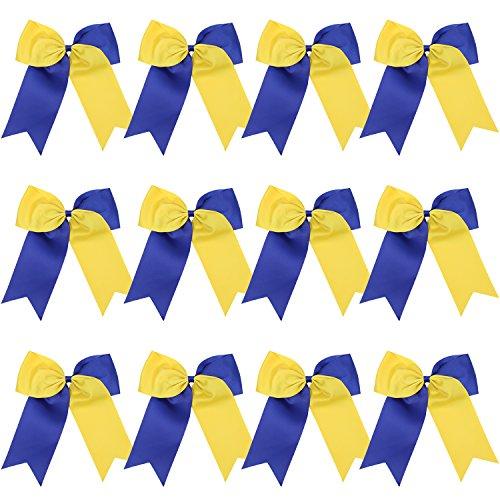 """8"""" 2 Colors Jumbo Cheerleader Bows Ponytail Holder Cheerleading Bows Hair 12 Pcs (Royal -"""
