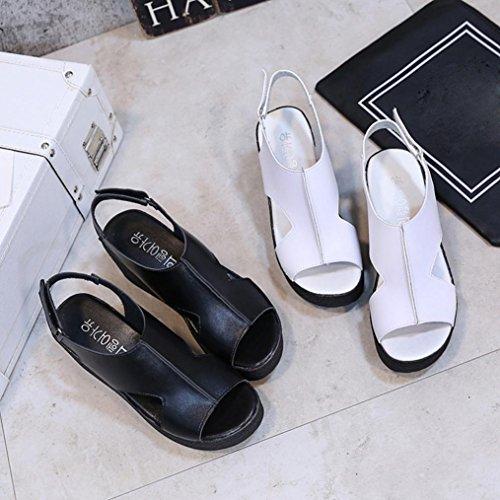 Talon Sandales Épais Femmes Ete Blanc À Fille Élastique Chaussures Escarpin Creux Compensé Angelof Fond Chaussons Ado Femme BxHwqH