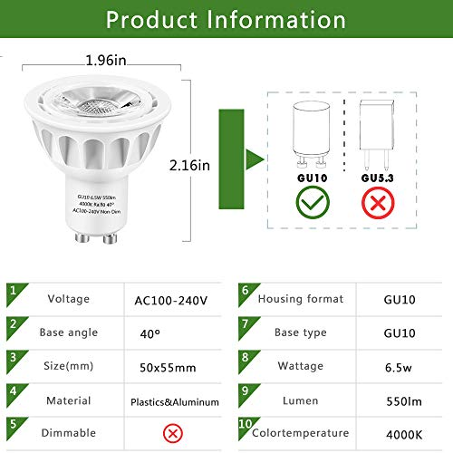 GU10 LED Bulbs, LEDMEI 6 Pack GU10 Led Light Bulbs, 50W Halogen Bulb Equivalent, 120 Volt, 6.5W 550lm, 4000K Natural White, 40° Beam Angle Spotlight, UL Listed, Non-Dimmable
