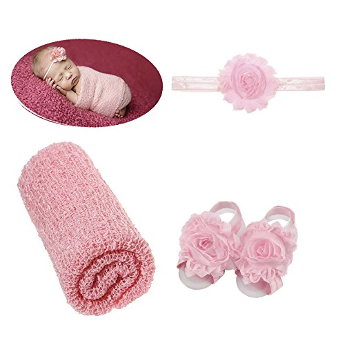 3pcs Baby Girl Boy Photography Props Blanket Swaddle Headband Barefoot Sandals by inSowni