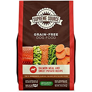 Supreme Source Premium Dry Dog Food Grain Free, USDA Organic Seaweed, Protein, Salmon and Sweet Potato Recipe for All Life Stages. Made in The USA. (5lb)