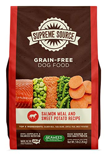 Supreme Source Premium Dry Dog Food Grain Free, USDA Organic Seaweed, Protein, Salmon and Sweet Potato Recipe for All Life Stages. Made in The USA. (5lb) (Best Dry Dog Food Made In Usa)