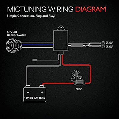 MICTUNING LED Light Bar Wiring Harness 40 Amp Relay Fuse ON-OFF-Strobe on