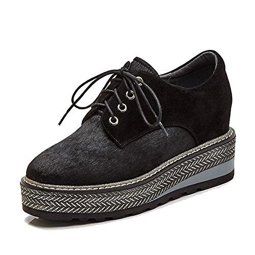 KJJDE Zapatos con Plataforma Mujeres WSXY-A0625 Parte Superior Lisa y Elegante Black