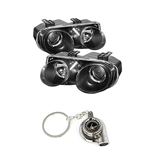 - Acura Integra Projector Headlights LED Halo Black Housing With Clear Lens + Free Gift Key Chain Spinning Turbo Bearing