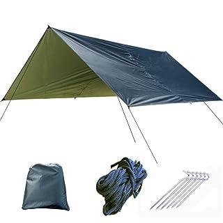 Tenda da spiaggia all'aperto Protezione UV 9.8x9.8 Piedi Amaca Telo di copertura Tenda impermeabile Rain Fly Telo di protezione con picchetti Ropes Kit di sopravvivenza per il campeggio Backpacking Pe