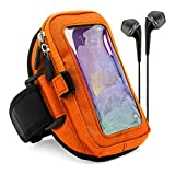 VG Zippered Hardcore Workout Armband for Motorola Droid Turbo / Apple iPhone 6 Plus / Samsung Galaxy S6 Edge+ / LG V10 / LG G4 / LG G Stylo / HTC One M9 with Black Headphones, Orange