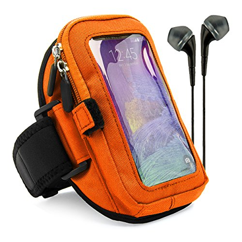 VG Zippered Hardcore Workout Armband for Motorola Droid Turbo / Apple iPhone 6 Plus / Samsung Galaxy S6 Edge+ / LG V10 / LG G4 / LG G Stylo / HTC One M9 with Black Headphones, Orange by VangoddyTM