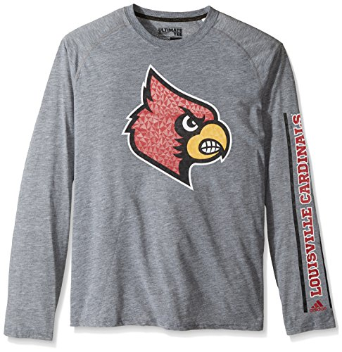 NCAA Louisville Cardinals Adult Men Sleeve Play Ultimate L/S Tee, Medium, Medium Grey Heather