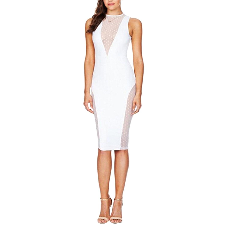 Carprinass Women's See Through Mesh Midi Dress Halter Club Bodycon Dresses
