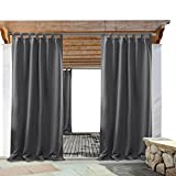 gazebo curtains PONY DANCE Grey Outdoor Curtains - Light Block Waterproof Fabric Tab Top Solid Blackout Curtain Drapes for Gazebo Porch, 52