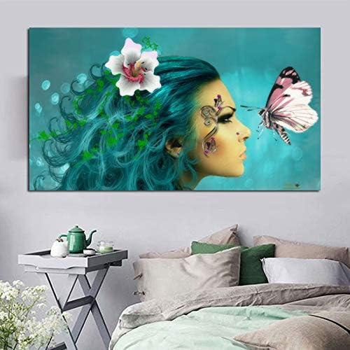 YuanMinglu Retrato póster en Lienzo e impresión en la Sala de Estar decoración del hogar con Mariposa Imagen de la Pared Hermosa Mujer sin Marco Pintura 60x90cm: Amazon.es: Hogar