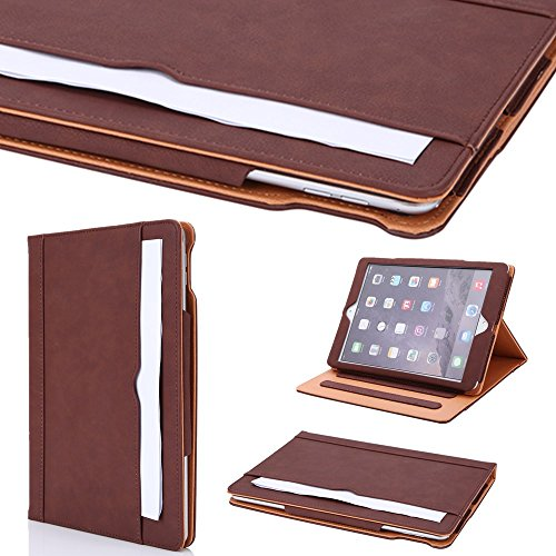 I4UCase Apple iPad 9.7 Inch 2017 (5th Generation) Case - Soft Leather Stand Folio Case Cover for iPad 9.7 Inch 2017, with Multiple Viewing angles, Auto Sleep/Wake, Document Card Pocket (Brown)
