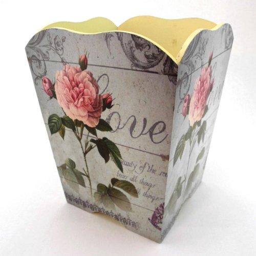 Vintage Decorative Romantic Trashcan, Wastebasket or Trash Receptacle ~ W02 French Chic Sage Colored Wooden Waste Basket