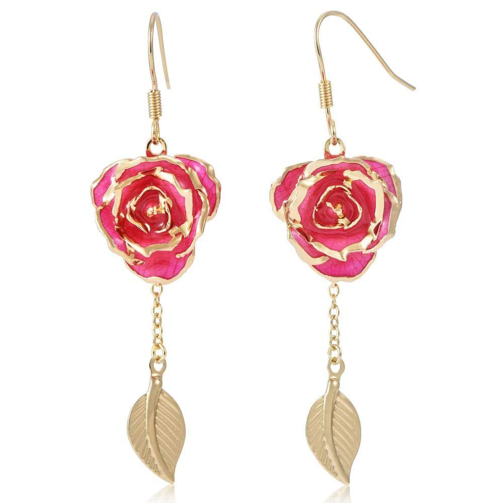 Pendientes colgantes en estilo de hoja de flor de rosa hecha a mano con filigrana chapada en oro de 24 kilates, color rosa para regalos de Navidad/Acción de ...