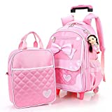 QCC& 2Pcs Rolling Backpack Cute Girls Waterproof Removable Trolley Backpack For School Travel With Lunch Bag 6-12 Year Old,B