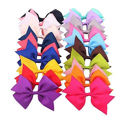 OKDEALS Girl Baby Hair Bows Alligator Clip Gros grain Ribbon Flower Headbands 20PCS
