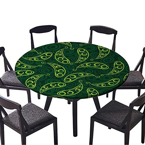 Round Table Tablecloth Pea Pod Seamless Background Machine Washable 59