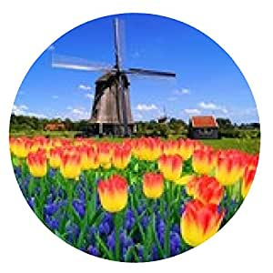 alfombrilla de ratón coloridas flores de primavera con el molino de viento clásico, Países Bajos - ronda - 20cm