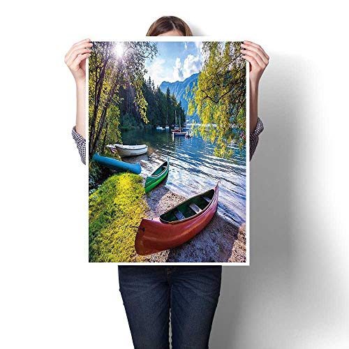 (Canvas Prints Artwork,Lake with Boats Canoes Triglav National Park Julian Alps Slovenia Print Multicolor Oils,Paintings on Canvas Wall Art for Home Decorations,24