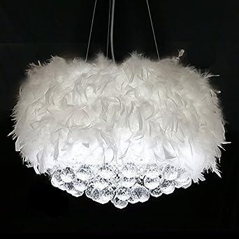 Modern Deckenlampe Weiße Feder-Decken-hängende Lampe ...
