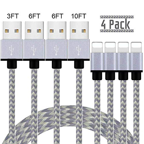 iPhone Charger,MFi Certified Lightning Cable,4 Pack(3/6/6/10 FT) Extra Long Nylon Braided Charging&Syncing Cord Compatible with iPhone Xs/XS Max//XRX/7/7Plus/8/8Plus/6S/6SPlus/5/Ipad (White+Grey)