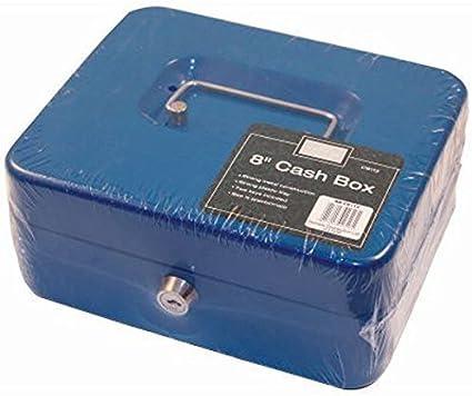 20,32 cm azul caja de caudales 2 de teclas de placa metálica para dinero mAh caja fuerte de seguridad para almacenar y conservar alimentos: Amazon.es: Oficina y papelería