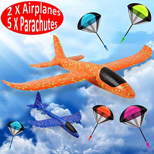 """Funburg Foam Glider Airplane for Kids, 2P 14"""" inch Foam Throwing Airplane+5P Parachute Tangle Free Throwing,Flying Toys Outdoor Sports Game Play,Birthday Party Favor Gifts for Boys Girls Toddlers"""