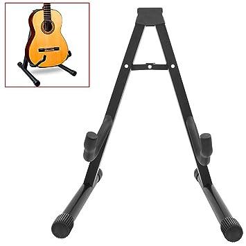 Ociodual Soporte Universal Plegable de Suelo Ajustable Compatible con Todas Las Guitarras Acustica Electrica Española Forma-A para Bajo Negro