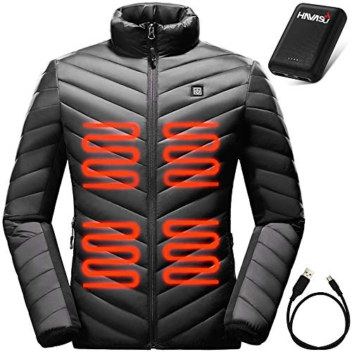 HAVASU Windproof Heated Jacket for Men-Winter Coat with 3 Heat Settings-Warming Gear for Cool to Extreme Cold Weather - Rechargeable Battery Heated Coats for Men- Black Heating Mens Coats (Small)