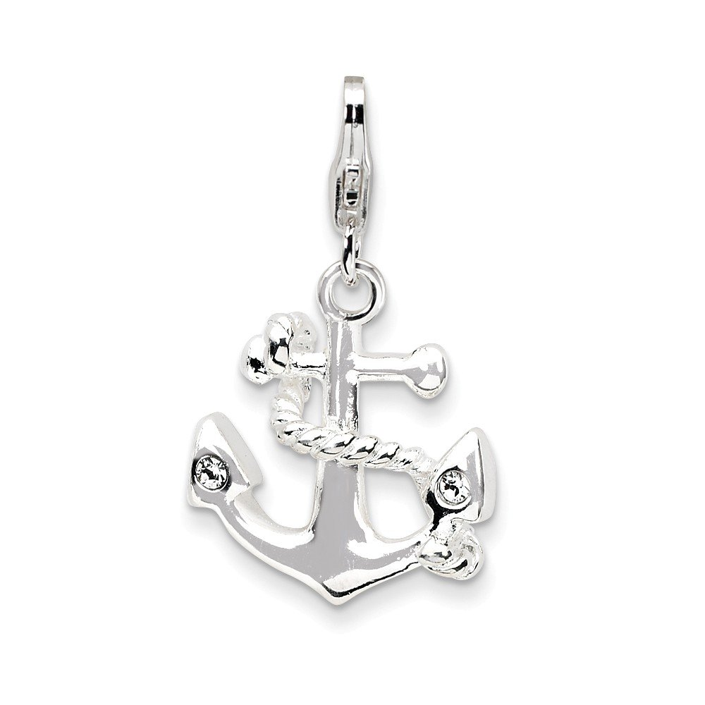 Top 10 Jewelry Gift Sterling Silver 3-D Enameled Anchorw/Lobster Clasp Charm