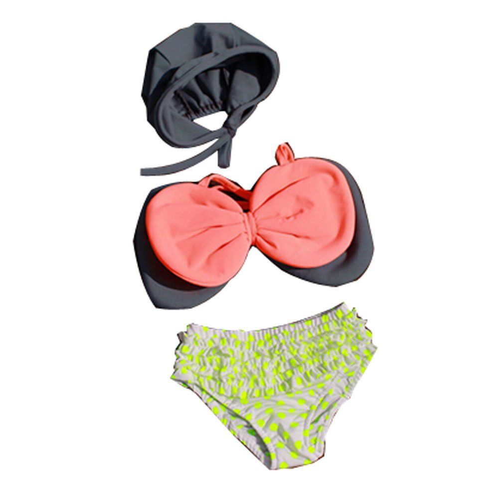 Lovely Bowknot Bikini with Cap for Girls Bathing Wear, 2-4 Years Old, 80-100CM PANDA SUPERSTORE PS-SPO2420250011-JACKY00588