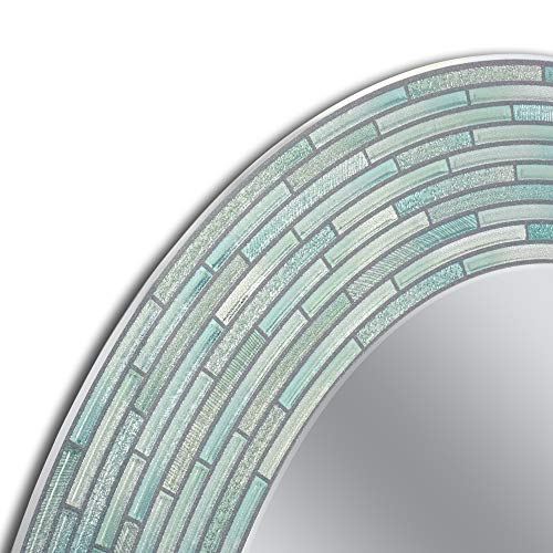 Svitlife Headwest Reeded Sea Glass Oval Wall Mirror - Blue/G
