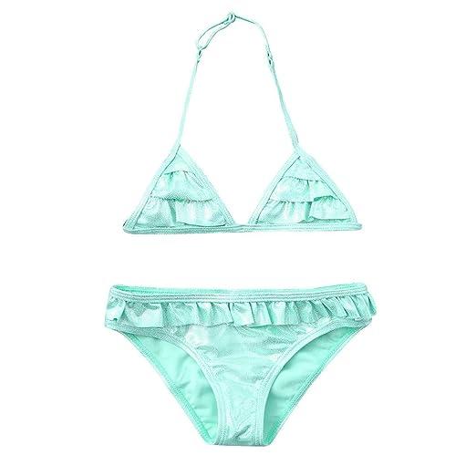 2a72f7b8b0 2PCS Girls' Swimsuit, Toddler Kids Solid Sparkle Summer Princess Bikini  Swimwear Set (Age
