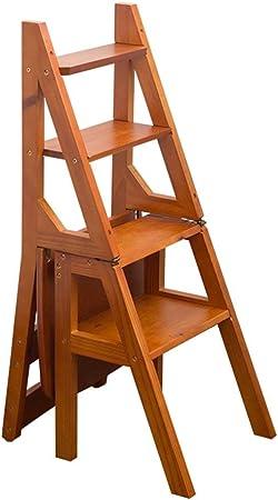 DHR- Pedal plegable Escaleras sólido Silla de madera Escalera Inicio multifunción Cocina Escalera del taburete del estante de almacenamiento en rack Flower Stand estantería Jardín Cocina Silla de come: Amazon.es: Hogar