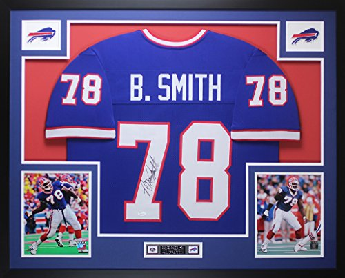 Smith Signed Bruce Bills (Bruce Smith Autographed Blue Buffalo Bills Jersey - Beautifully Matted and Framed - Hand Signed By Bruce Smith and Certified Authentic by JSA - Includes Certificate of Authenticity)