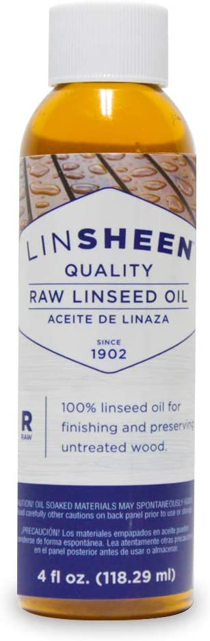 LinSheen Raw Linseed Oil – Food-Grade Wood Treatment Conditioner to Rejuvenate, Restore and Protect Wood Patio Furniture, Decks to Kitchen Cutting Boards, 4 oz Bottle