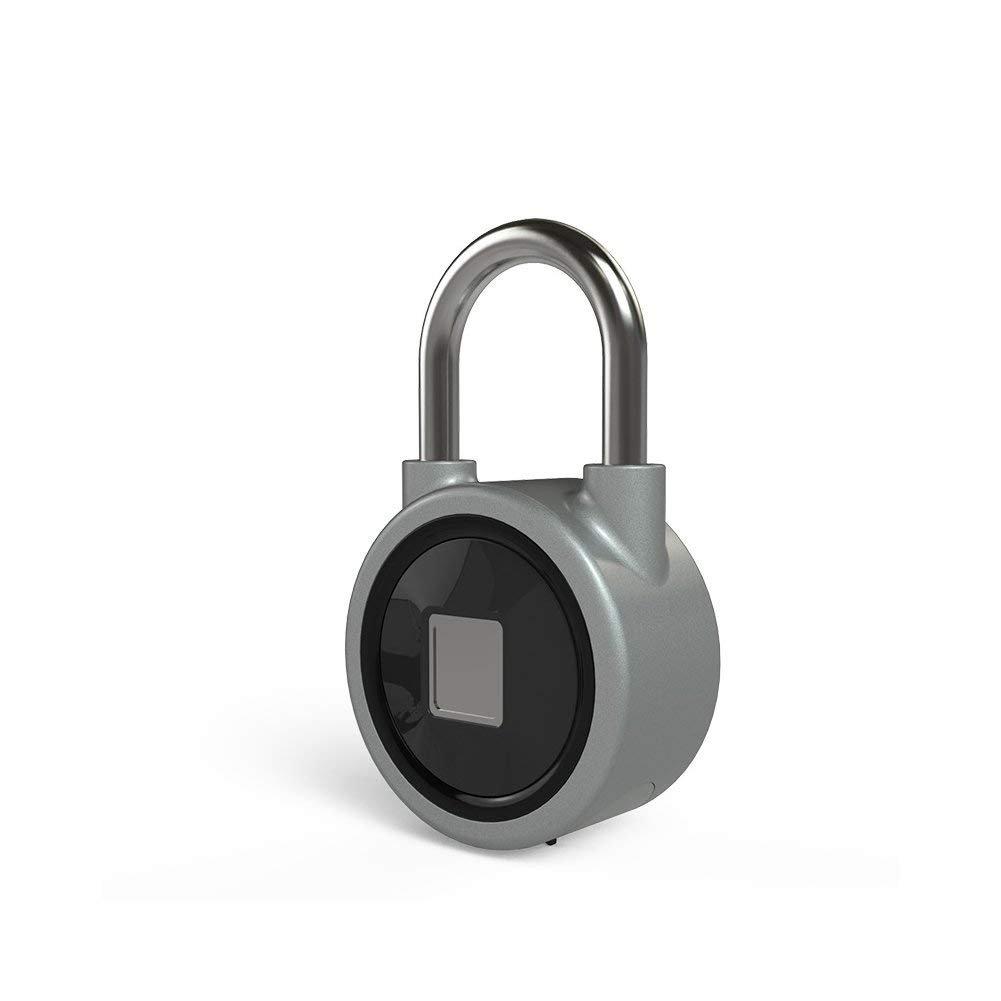 Fingerprint Padlock, Bluetooth lock Metal Waterproof, Suitable for House Door, Backpack, Suitcase, Bike, Gym locker, Office, APP is Suitable for Android/iOS(Gray)