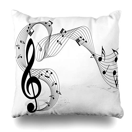 (Ahawoso Throw Pillow Cover Musical Clef Notes Staff Use Shape Music Treble Melody Istic Design Key Home Decor Cushion Case Square Size 18 x 18 Inches Zippered Pillowcase )