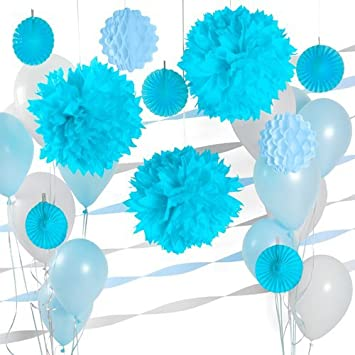 Amazoncom Party Decoration Kit Light Blue and White Party