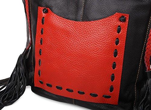Orange Bag Cross Shoulder Cowhide 6630 Handmade Bag Body For Women JOZEN Black nxpvYqBv