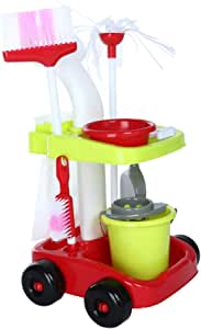 TKI-S Colorful, Durable Complete Housekeeping Play Set Childrens Cleaning Set- Broom, Mini Sweeper, Toy Cleaning Supplies BPA-Free Plastic, Non-Toxic!
