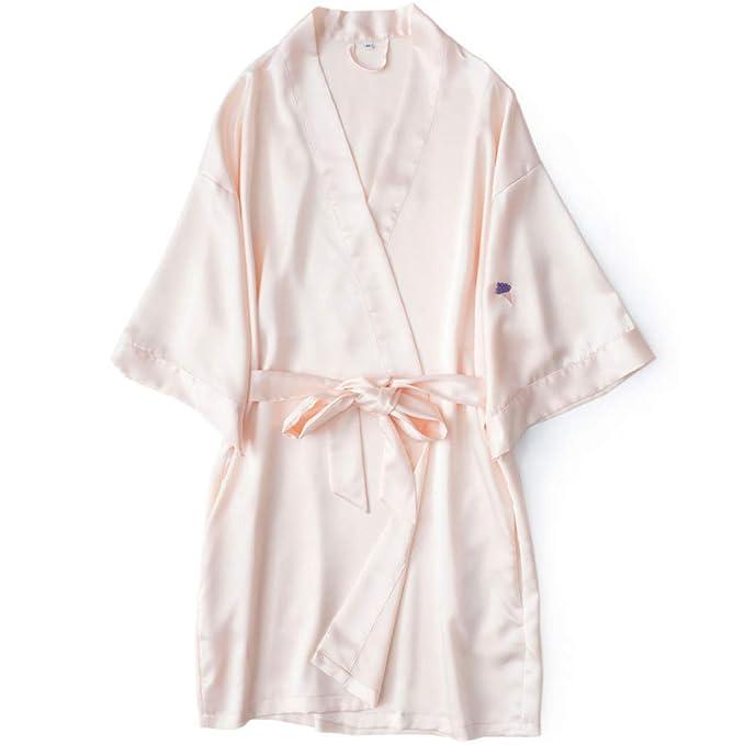 DPPAN Satén Pijama Albornoz Kimono Mujer, Sexy Bata Cuello ...