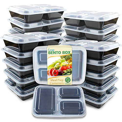 Enther Meal Prep Containers [20 Pack] 3 Compartment with Lids, Food Storage Bento Box | BPA Free | Stackable | Reusable Lunch Boxes, Microwave/Dishwasher/Freezer Safe,Portion Control (36 oz) (Bento Box)