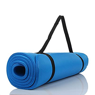 10mm Yoga Mat Exercise Fitness Pilates Camping Gym Meditation Pad Non-Slip Blue