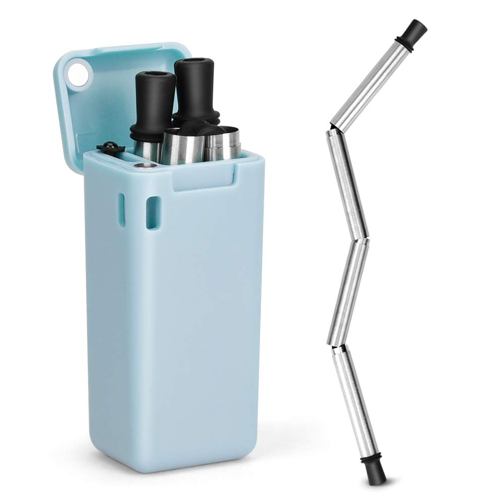 Fingertoys Stainless Steel Metal Straws Collapsible Straw Reusable Food-Grade Folding Drinking Straws Keychain with Cleaning Brush Blue 1