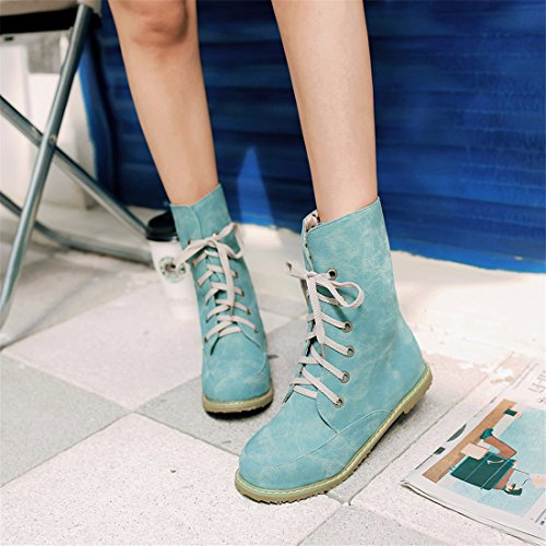 RFF-Women's Shoes European and American Women's Boots, Large Size, Fashion Boots, MA Dingxue Blue